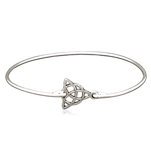 Sterling Silver Filled Small Celtic Triquetra Charm Bangle Bracelet, 8'
