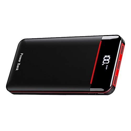 モバイルバッテリー 25000mAh 3個LEDランプ搭載 LCD表示 急速充電 PSE認証済 MicroとType-C入力ポート(2.4A+2.4A) 3USB出力ポート (2.4A+2.4A+2.4A) iPhone/iPad/Android に対応でき(Black&Red)