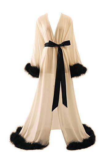 Molisa Women's Sexy Robe Feather Lingerie Robe Long Wedding Scarf Illusion Nightgown Bathrobe Feather Bridal Robe Champagne+Black S/M
