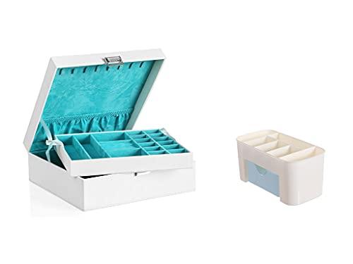 Recet Joyero de 2 capas con bandeja extraíble para pendientes, pulseras, relojes, etc. Adecuado para mujeres y niñas (C)