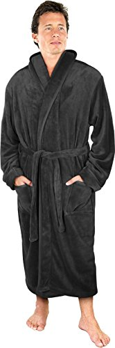 NY Threads Luxurious Men's Shawl Collar Fleece Bathrobe Spa Robe (Grey, Large/X-Large)