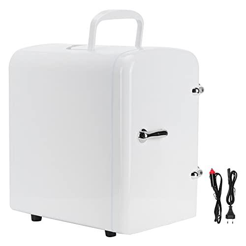 Mini refrigerador eléctrico, enchufe de la UE 12 V ~ 240 V 4 litros / 6 latas Mini refrigerador portátil enfría o calienta de doble uso con adaptadores de corriente CA / CC para viajes de oficina y au