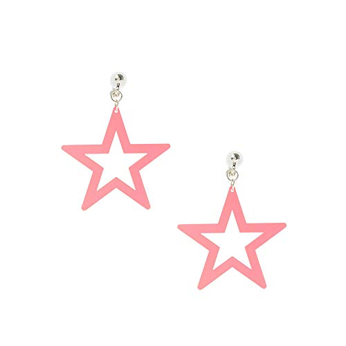 Claire's Silver Neon Star Drop Clip on Earrings for Girls, Pink, 1.5 Inches, Cute Jewellery for Girls, 1 Pair