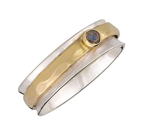 Energy Stone Anello dell'insegnante - Anello girevole di meditazione in argento sterling - labradorite taglio cabochon (modello UK70)