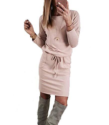 Anaisy Damen Langarm Strickkleid Pulloverkleid Wesentlich Etuikleid Freizeitkleid Stiefelkleid Casual Strick Pullover Für Herbst Und Winter (Color : Rosa, Einheitsgröße : M(EU 38))