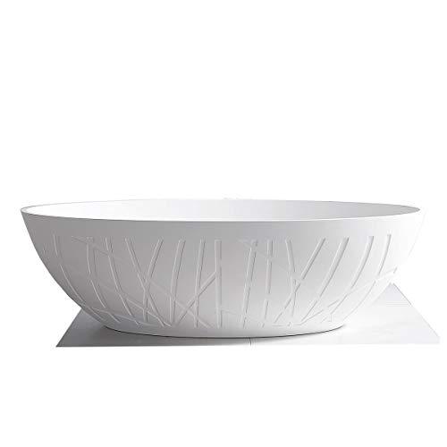 Freistehende Design Badewanne aus Mineralguss LEO Weiß matt - 180 x 85 x 52 cm