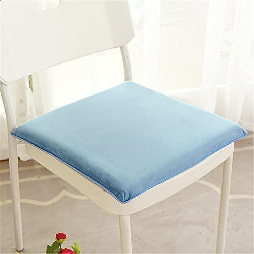 SWECOMZE Cuscino per sedia, 40 x 40 cm, in velluto, imbottitura in memory foam, antiscivolo, per interni ed esterni (blu)