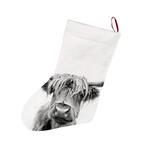 Thewar Highland Cow Scotland Grey Christmas Stockings Personalized Xmas Stockings Hanging Ornaments Candy Gift Bags for Family Holiday Xmas Party Decorations