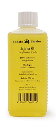 Indalo Jojoba Öl 250ml - Plantagen-Direktvertrieb aus Spanien - 100{a5ac021771a2fec668af4e75671788a53302652ae5851ecf9964a38d7ffd5413} naturrein