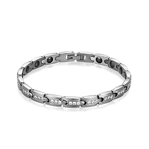 Flongo Damen Magnetarmband Magnet Therapie Kugel Perlen Armband Armreif mit Zirkonia Silber Gesundheit Elegant für Frauen