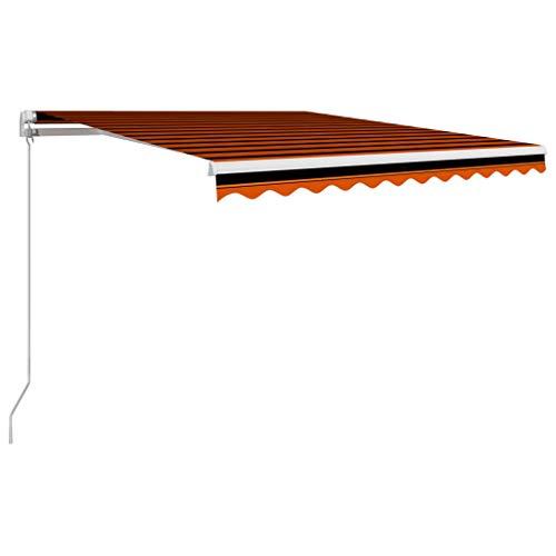 vidaXL Markise Einziehbar Handbetrieben Gelenkarmmarkise Balkonmarkise Sonnenschutz Sichtschutz Terrasse Balkon 350x250cm Orange Braun