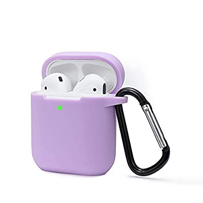 Airpods Case Cover Compatible with AirPods 2 & 1, KOKOKA Silicone Shockproof Airpods Case Cover [Front LED Visible][Support Wireless Charging][Extra Protection] with Hook Light Purple by Kokoka