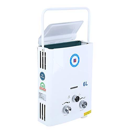 Youwise Calentador de Agua 6L LPG Calentador de Agua portatil sin Tanque de Gas propano para la Cocina casera