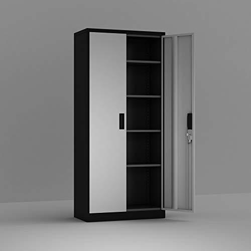 Lockable 2-Door Steel Garage Storage Cabinet with 2 Adjustable Shelves, Slivery