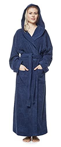Arus Albornoz para mujer con capucha, extralargo, 100% algodón, rizo, bata de casa, bata, bata de sauna, con cinturón, certificado Öko-Tex marine S extra alto