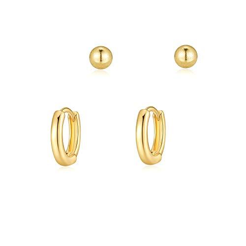 Conjunto de Pendientes Oro Pendiente de Bola Pequeños Pendiente de Aro de Bisagra Mujer