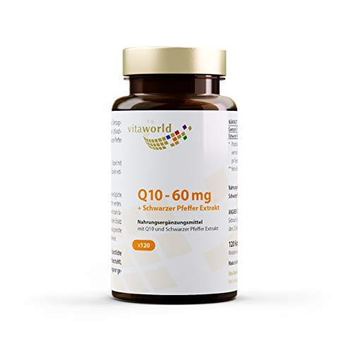 Vita World Q10 60 mg + Zwarte Peper-Extract - 120 Capsules - VEGAN - Gemaakt in Duitsland