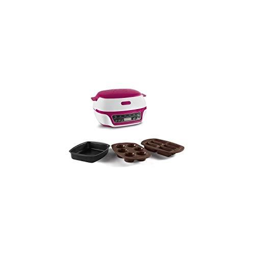TEFAL - Robot para hornear y repostería, para muffins, con 3 moldes, batidor y espátula incluidos, 5 programas Rosa - 3 moldes incluidos blanco y rosa
