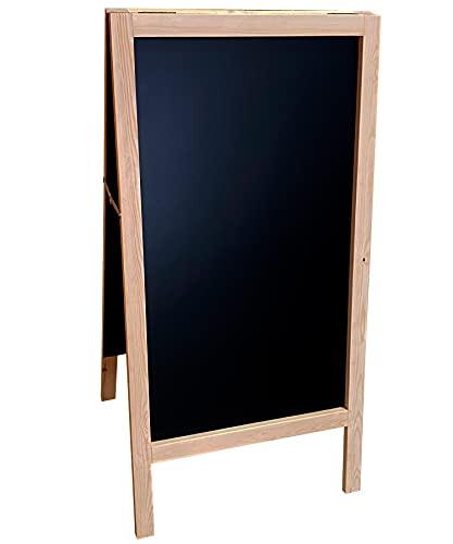 Pizarra caballete marco madera . Pizarra negra doble cara apta para tizas y rotuladores efecto tiza. Ideal para hostelería, infantil, restaurante, habitación niños, etc. (PINO, 120 x 60 cm) ✅