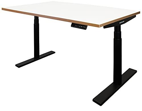 Elektrisch höhenverstellbare Büroschreibtische   Gestell schwarz   Platte weiß   Kante Multiplex   Maße BxTxH 1200 x 800 x 600-1275 mm   Josi   Novigami