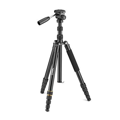 National Geographic Video-Reisestativ-Kit mit Einbeinstativ, Alu, fünfteilige Beine mit Drehverriegelung, Tragetasche, Kugelkopf, Schnellwechselplatte, für Canon, Nikon, Sony, bis 6 kg NGTRV005T