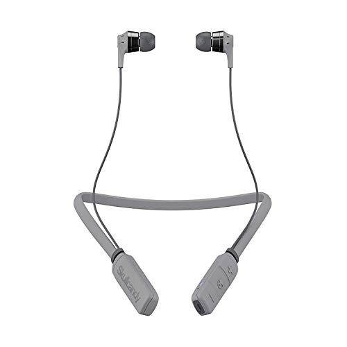 Skullcandy S2IKW-K610 Ink'd Bluetooth Wireless Earbuds with Microphone, Noise Isolating Supreme Sound, 8-Hour Rechargeable Battery, Lightweight with Flexible Collar, Street/Gray/Chrome
