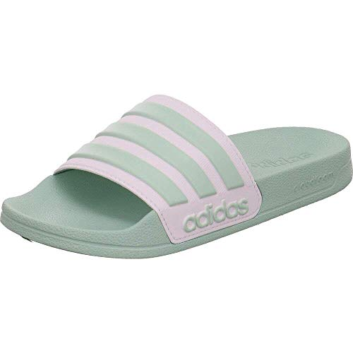 adidas Womens Adilette Shower Sandal, Green Tint/Footwear White/Green Tint, 38 EU