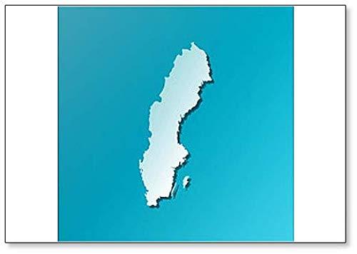 Imán para nevera con diseño de mapa de Suecia (azul)