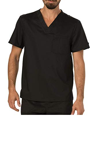 Smart Uniform Chest Pocket V-Neck Top scub U180 (M [39-41], Schwarz [Black])