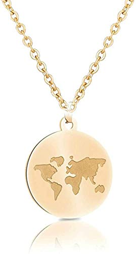 AOAOTOTQ Co.,ltd Halskette Edelstahl Münzhalsketten Frauen Weltkarte Bee Mountain Halskette Anhänger für Frauen Mädchen Traveller Geschenke Femme