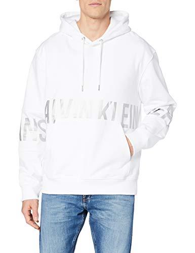 Calvin Klein Blocking Logo Hoodie Maglione, Bright White, M Uomo