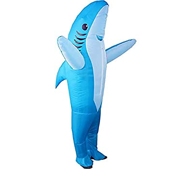 MH Zone Inflatable Shark Costume for Adult Funny Halloween Costumes Cosplay Fantasy Costume  Blue