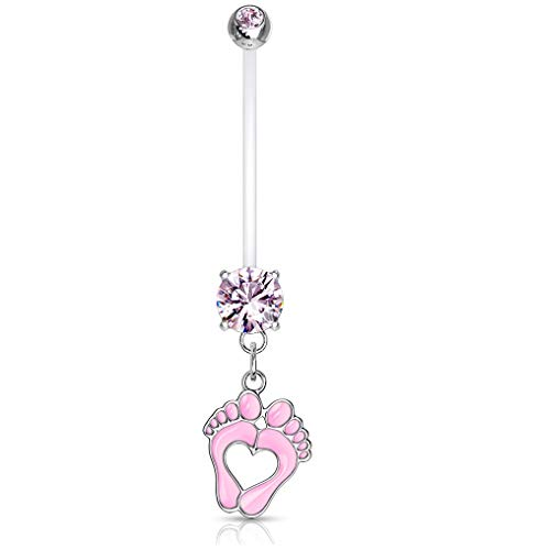 Pierced Owl Double Jeweled Heart Baby Feet Dangle Pregnancy Maternity Belly Button Ring Retainer (Pink)