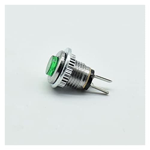 Jgzwlkj Interruptores de botón 5pcs 2pin Micro Button Interruptor 8 mm 0.5A 250 V Botón de restablecimiento de CA Interruptor Redondo DS-101 (Color : 5 Green)