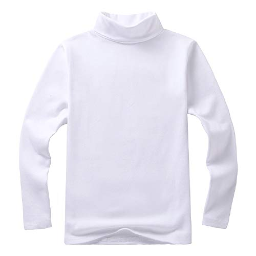 Girls Boy Basic Solid Color Turtleneck T-Shirt Tops Long Sleeve Clothes (White, 2-3Y) Boys Clothes White Turtleneck