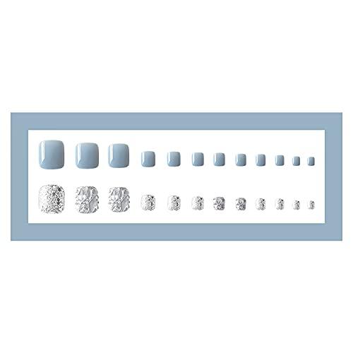 HAOHAG 24PCS Faux Ongles D'orteil Gelée Glue Cat's Eye Vernis à Ongles Dongle Conseils Appuyez sur Long Faux avec Cercueil Colle Couverture Complète Outils de Manucure