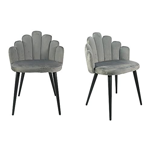 Juego de 2 sillas de terciopelo suave modernas y simples sillas de comedor sillas de salón sillas de dedo (gris)