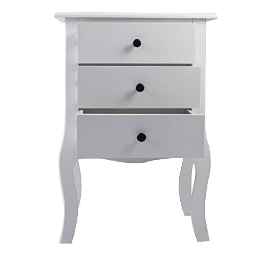 Aoerte White Bedside Table Wooden Nightstand with 3 Drawers, Side Table for Bedroom/Living Room/Hallway 48x34x70cm