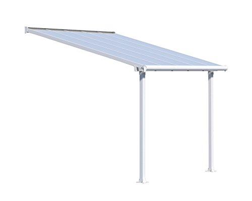 Palram Canopia Olympia Terrassenüberdachung 3x3 - Gestell aus Alumiuium & 16 mm Polycarbonat - Terrassendach Für den Ganzjährigen Gebrauch Geeignet, Weiß, 307 x 295 x 305 cm