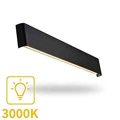 Aipsun 20W/24in Rectangular LED Black Modern Wall Sconce Horizontal Up and Down Wall Mount Light for Indoor Vanity Bar Light Bedroom Living Room Bathroom Home Lighting Fixtures (Warm White 3000K)
