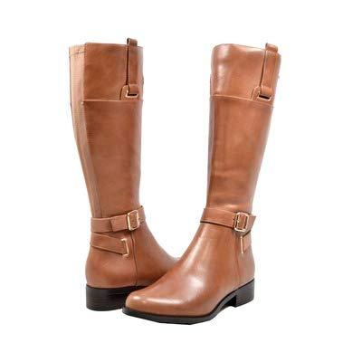 Solemani Gabi Women's Cognac Leather X-Slim Calf Riding Boot Size 6