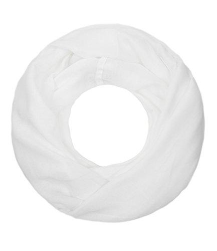 Majea Loop Cary Basic Schal Tuch Damen-schal Schlauchschal Rundschal Halstücher uni unifarben Loopschal einfarbig (weiß 1)