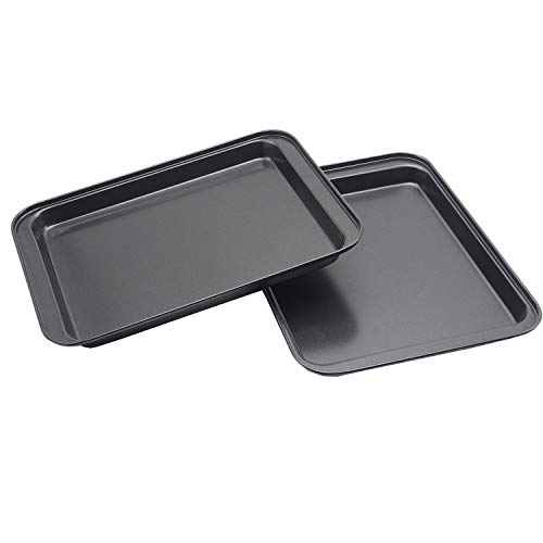 2Pcs Small Baking Sheet Mini Cookie Tray Toaster Conventional Oven Pan Outer Size 9.5 X 7 Inch(Inner 7.5 X 6 X 0.5 Inch) Nonstick No Warp Bakeware for 1 or 2 Person by HYTK
