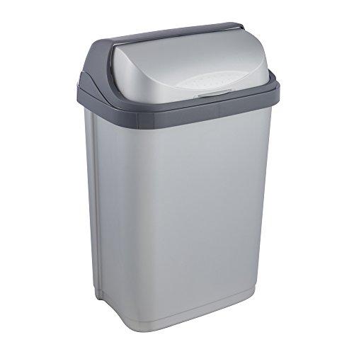 keeeper Abfallbehälter mit Rolldeckel, 10 l, Rasmus, Silber