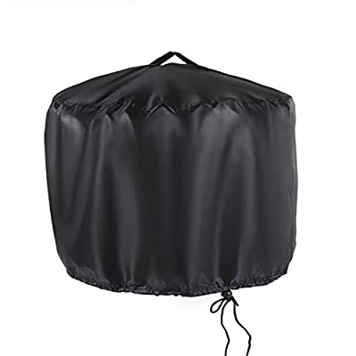 "Aidetech Round Patio Fire Pit Cover 20"" D x 14.5"" H, Outdoor Polyester Waterproof Weatherproof with Airvents and Drawstring"