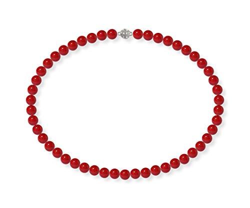 Schmuckwilli Damen Muschelkernperlen Perlenkette Rot Magnetverschluß echte Muschel 50cm dmk0005-50 (8mm)