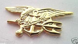 Handsome Enamel Lapel pins - US Navy Seal Trident (Medium Gold) Military Veteran Hat Pin - Unique Pins and Brooches