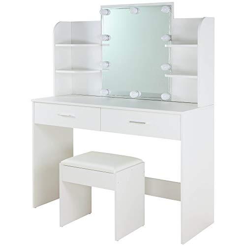Albatros Schminktisch Ella, Weiß mit Hocker, LED-Beleuchtung & Spiegel, 2 Schubladen und Fächern, Frisiertisch Kosmetiktisch