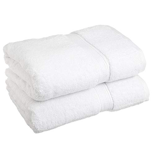 Bamboo Cotton Bath Sheets by LionFinch. Bright White, Super Soft and Absorbent. Bamboo Naturally Blocks Mold and Mildew. Extra Long 70 inches by 35 Inches Wide.