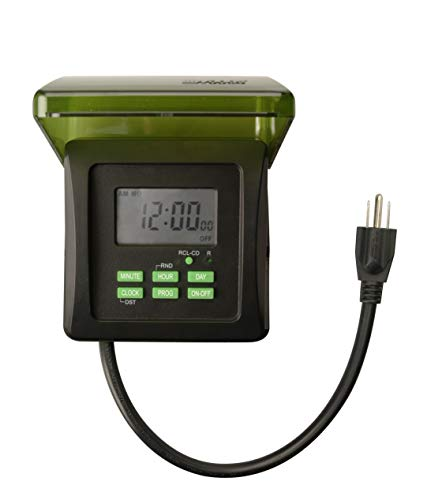 Woods 50015WD Outdoor 7-Day Heavy Duty Digital Plug-in Timer, 2 Grounded Outlets, Weatherproof, Perfect for Automating Holiday/Christmas Lights, 3/4 Horse Power, Energy Saving Precision Programming, Black & Green